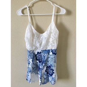 Other - Blue & White Laced Romper